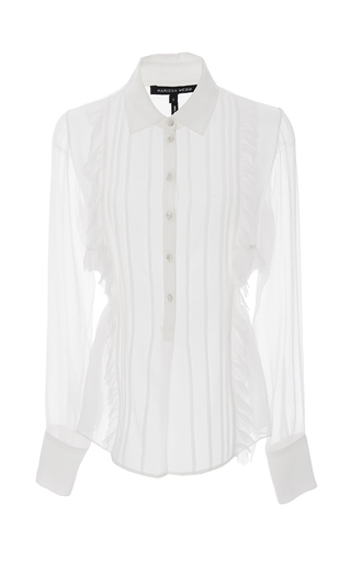 Medium marissa webb white white iman crinkle silk blouse