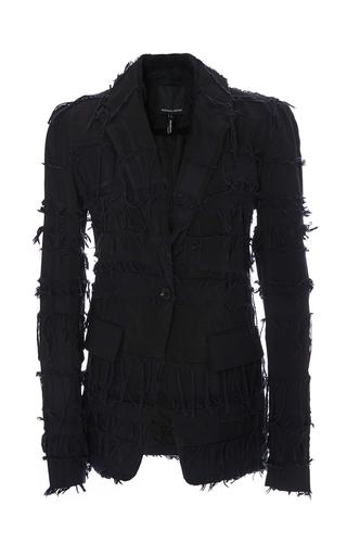 Medium marissa webb navy conner fringe jacquard blazer