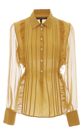 Medium marissa webb orange marigold iman crinkle silk blouse