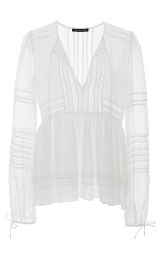 Medium marissa webb white bella crinkle georgette blouse