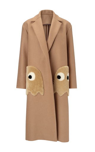 Medium anya hindmarch tan oversized coat ghosts in camel wool with shearling trim