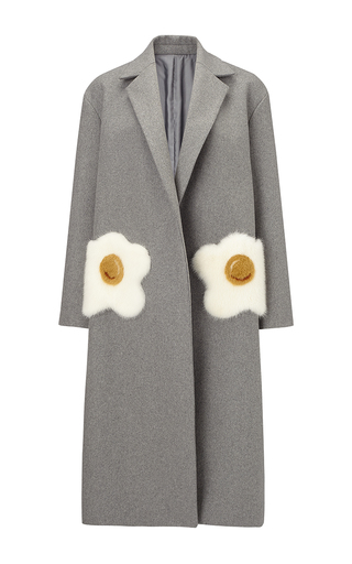 Medium anya hindmarch light grey oversized coat eggs in light grey wool with mink trim