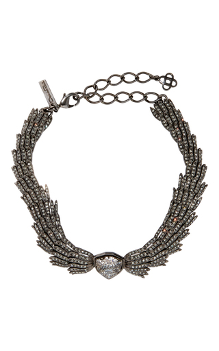 Medium oscar de la renta black wistera crystal necklace
