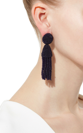 Short Beaded Tassel Earring by OSCAR DE LA RENTA Now Available on Moda Operandi