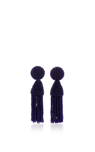 Medium oscar de la renta navy short beaded tassel earring