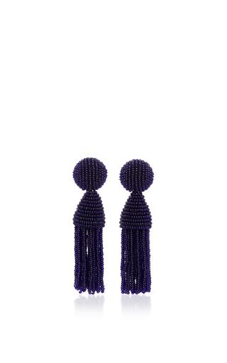 Medium oscar de la renta navy short beaded tassel earring