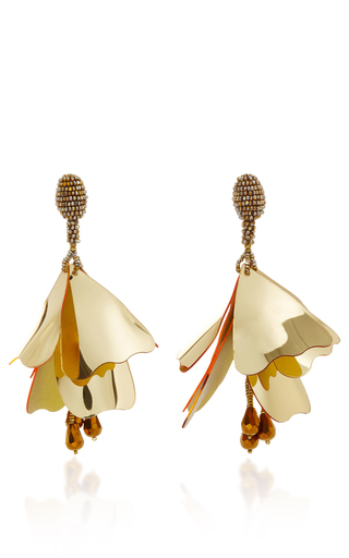 Medium oscar de la renta gold flower petal drop earrings