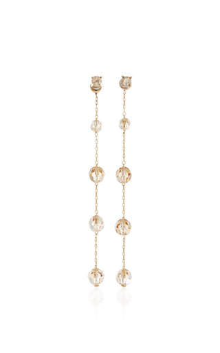 Medium oscar de la renta gold long crystal earring
