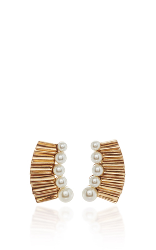 Medium oscar de la renta gold gold and pearl earring