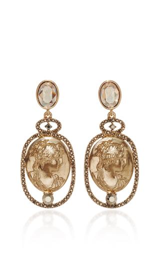 Medium oscar de la renta gold portrait drop earring