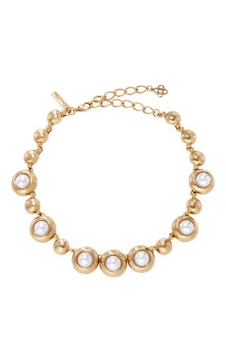 Medium oscar de la renta gold gold and pearl necklace