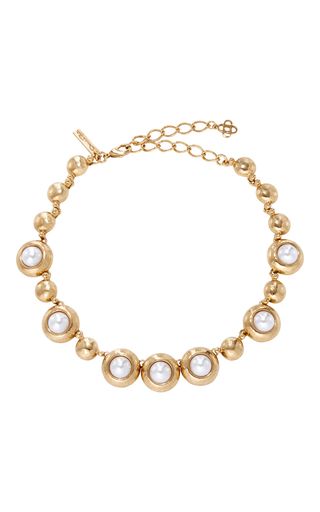 Medium oscar de la renta gold gold and pearl necklace
