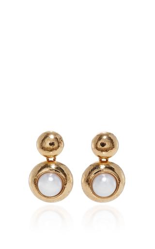 Medium oscar de la renta gold gold and pearl drop earring