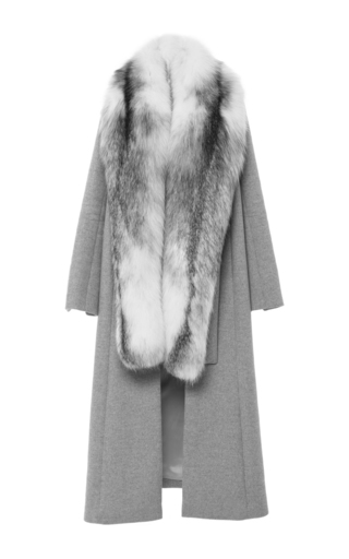 Medium jonathan simkhai light grey fox collar coat 2