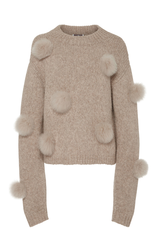 Medium tibi tan alpaca pom pom sweater