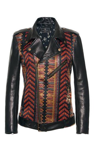 Medium etro black brocade moto leather jacket