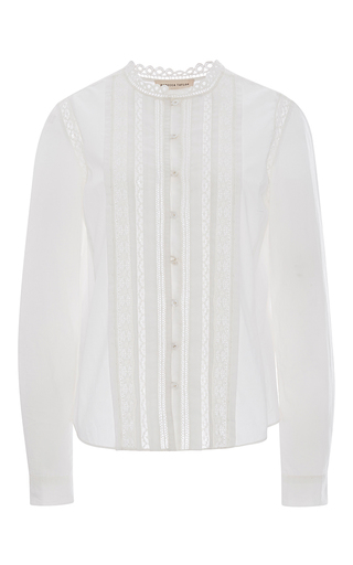 Medium rebecca taylor white lave trim poplin shirt