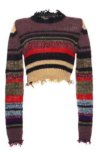 Medium etro print cropped frayed sweater