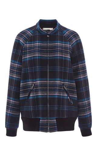 Medium rebecca taylor navy plaid wool bomber jacket