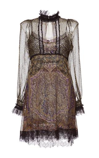 Medium etro print high neck lace trim dress