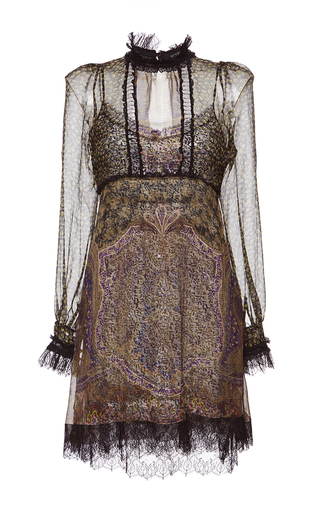Medium etro print high neck lace trim dress