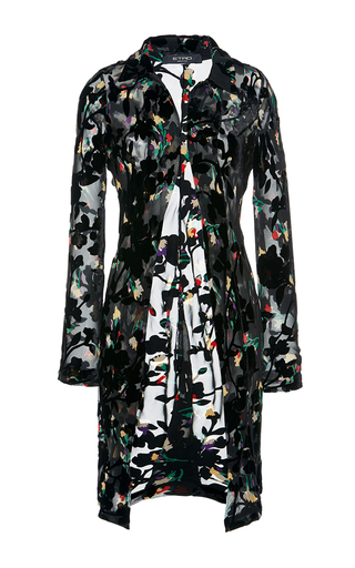 Medium etro black floral overcoat