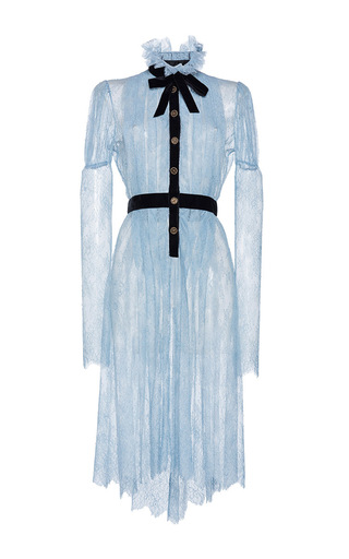 Medium philosophy di lorenzo serafini light blue pleated sheer lace dress