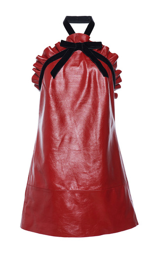 Medium philosophy di lorenzo serafini red leather halter ruffle trim mini dress