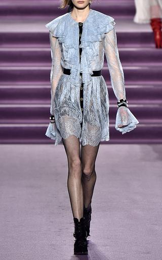 Medium philosophy di lorenzo serafini red pleated ruffle lace mini dress