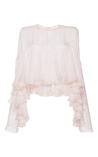 Medium philosophy di lorenzo serafini light pink tiered ruffle chiffon blouse