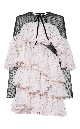 Medium philosophy di lorenzo serafini pink tiered ruffle silk dress