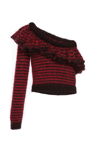 Medium philosophy di lorenzo serafini stripe superkid mohair one shoulder ruffled sweater