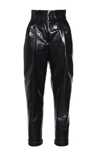 Medium philosophy di lorenzo serafini black black leather high waisted pleated trouser