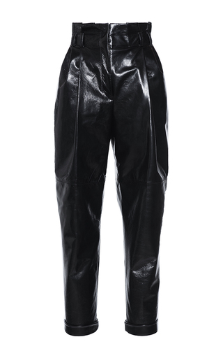 Medium philosophy di lorenzo serafini black black leather high waisted pleated trouser