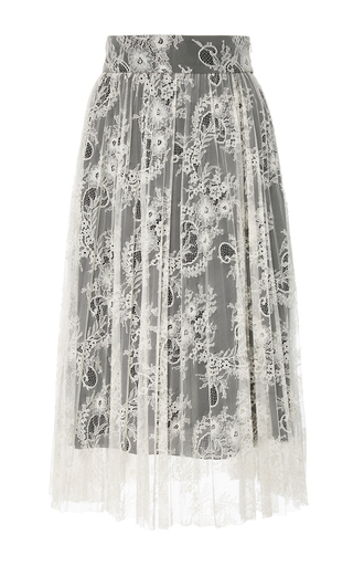 Medium philosophy di lorenzo serafini black white pleated lace midi skirt