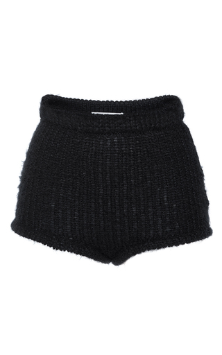 Medium philosophy di lorenzo serafini black extrafine merion wool high waisted shorts