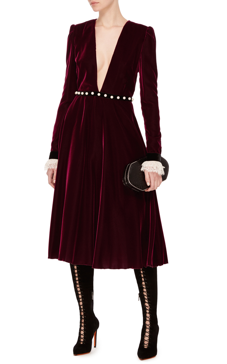 Deep V Velvet And Lace Midi Dress By Philosophy Di Moda