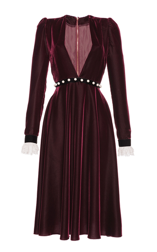 Medium philosophy di lorenzo serafini burgundy deep v velvet and lace midi dress