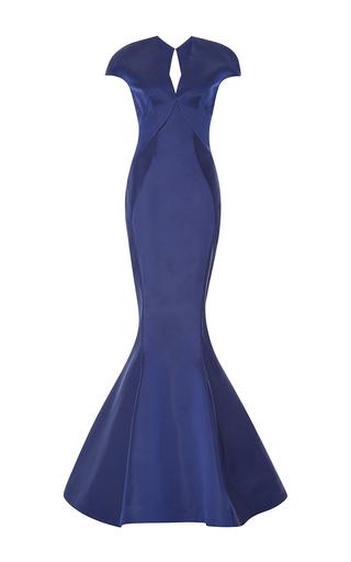 Medium zac posen blue duchess cape sleeve gown