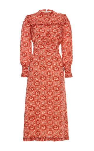 Medium vilshenko red miranda georgette frill front midi dress