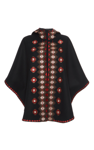 Medium vilshenko black ava geometrical embroidered cape