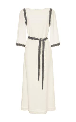 Medium vilshenko ivory sally contrast midi dress