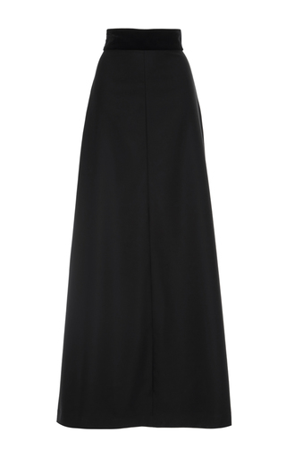 Medium vilshenko black clara worsted wool long skirt