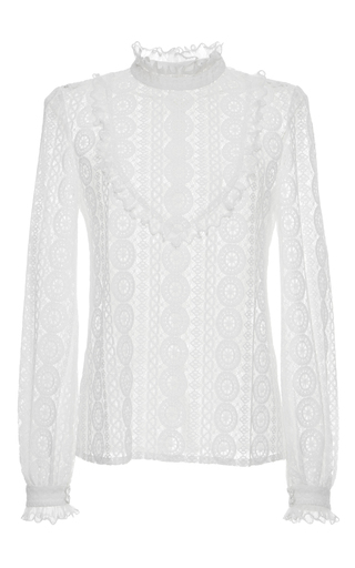 Medium vilshenko ivory anna circle lace frill neck blouse