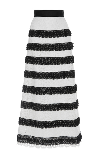 Medium vilshenko black white olga corded lace frill midi skirt