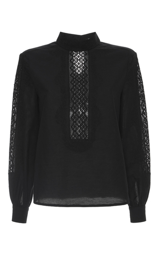 Medium vilshenko black esme embroidered bib blouse