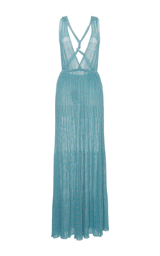 Medium missoni light blue light blue lame v neck long dress