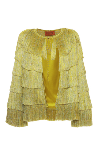 Medium missoni yellow yellow tiered fringe lame jacket