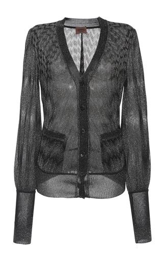 Medium missoni dark grey degrade zig zag lame blouson sleeve cardigan