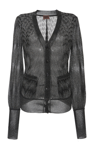 Medium missoni dark grey degrade zig zag lame blouson sleeve cardigan